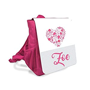 Kinder-rucksack für Mädchen mit Namen u. Herz