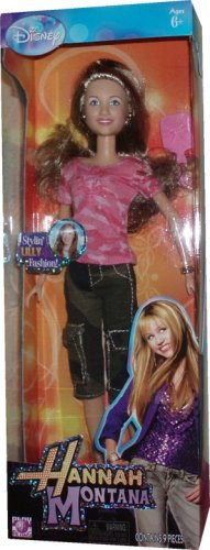 Disney Hannah Montana and Friends 12Inch Stylin 'Fashion Doll–Lilly in Camo Pink Shirt and Camo Green Capri Pants with High Heel Sandals, Armband, Pair of Kristall and Hairbrush by Hannah Montana (Hannah Capri Montana)