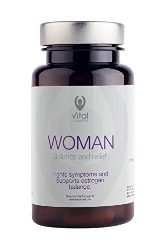 Vital Concept WOMAN - Tabletten für Frauen in der Menopause. Hilft bei Hitzewallungen, Schlaflosigkeit und Depressionen. Ohne GVO. Soja-Isoflavon-Extrakte, Rotklee, Rhodiola rosea. 60 Kapseln, 30 tage