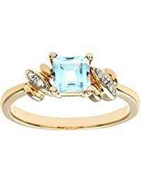 Naava 9ct Yellow Gold Ladies Diamond and Blue Topaz Ring