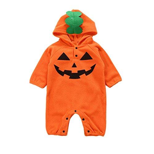 QinMM Kleinkind Infant Baby Mädchen & Jungen mit Kapuze Strampler Overall Halloween Outfits Kleidung Kostüm Outfits Kürbis Ghost Print Kleidung Set Orange für 6 Monate-24 Monate (6M, ()