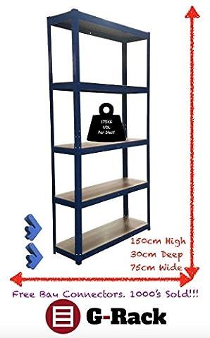 150cm x 75cm x 30cm, blau 5Etagen (175kg Pro Regal),