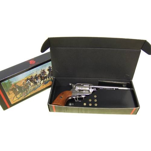 Deko Kavallerie Colt vernickelt Single Action 1873 Spezialverpackung mit Patronen -