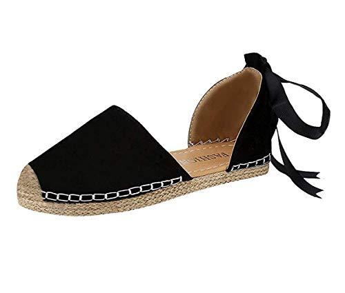 Minetom Damen Sandalen Frauen Bandage Knöchel Wrap Espadrille Flachen Sommer Lace Up Platform Sandal Mode Elegant Schwarz EU 42 -