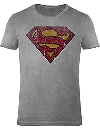 GOZOO Superman T-Shirt Herren Vintage Logo 100% Baumwolle, sehr hochwertiger Druck Grau
