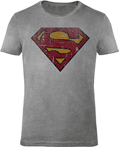 GOZOO Superman T-shirt Uomo Vintage Logo 100% Cotone Grigio XL