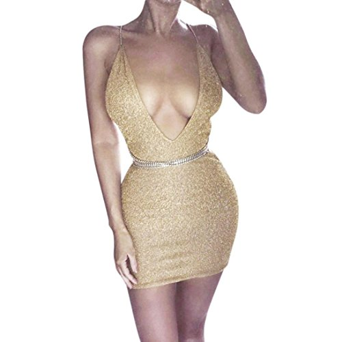 ESAILQ Dress, Womens Sexy Bodycon Party Deep V Plunge Ladies Mini Dress