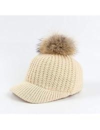Lxj Sombrero Mujer línea Punto Gorra Invierno cálido Borde Curvo Pato  Lengua béisbol Cap 57cm 5c9b1a19fb9