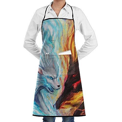 Drempad Premium Unisex Schürzen, Water Fire Wolf Faction Unisex Kitchen Cooking Garden Apron,Convenient Adjustable Sewing Pocket Waterproof Chef Aprons -