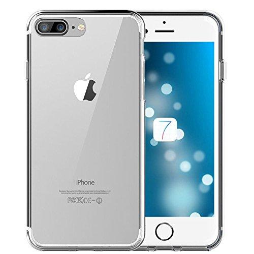 iPhone 8/ 7 Plus coque -iHarbort ultra Slim protecteur iPhone 7/ 8 Plus coque etui case cover avec le matériel TPU doux (avec l'absorption de choc) avec protecteur d'écran, Transparent Transparent