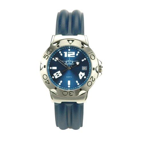SkyTimer Herrenarmbanduhr 507625004 - Taucheruhr, 10 bar, Kautschukband, Zifferblatt blau
