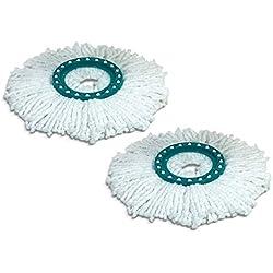 Leifheit 52094 Lot de Deux têtes de Rechange pour Balai Mop Combi/Twist, Plastique, Blanc, Taille Unique