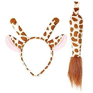 WIDMANN 09735 Juego de jirafas, orejas y cola, para mujer, marrón/beige, talla única