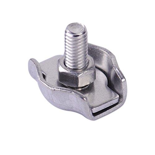 LETAOSK 10 pcs En Acier Inoxydable Câble Corde Simple Grips Pinces de Câble Étrier Clips 8mm