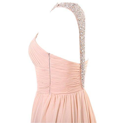 YiYaDawn Langes Abendkleid Ballkleid Festkleid mit Schlitz für Damen Rosa
