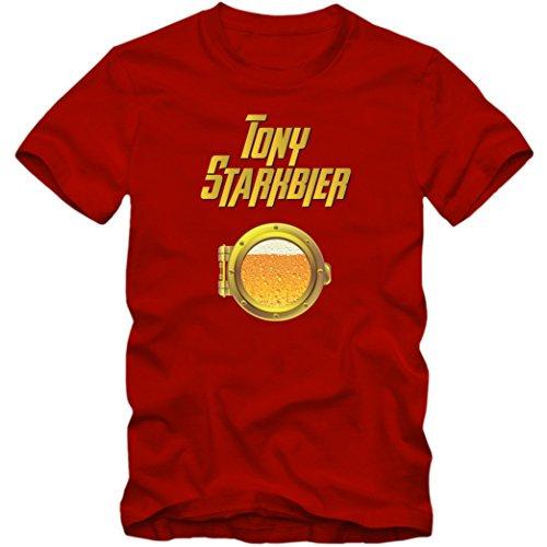 Tony Starkbier T-Shirt | Beer | Kühles Blondes | Herren |Tony Stark |Iron Man © Shirt Happenz, Farbe:Rot (Red (Superhelden Blonde)