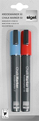 SIGEL GL183 Rotulador de tiza líquida (1 - 5 mm), color rojo / azul, 2 unds.