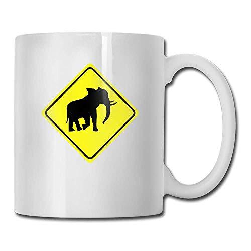 DHIHAS Strong Stability Durable taza de café Warning Sign Elefant 2col Tea...