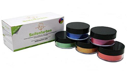Lyt Premium Seifenfarben-Pulver aus Mineralien (Jadegrün, Aztekengold, Lapislazuli Blau, Rubinrot und Flieder) - 100{7a4c3e7a2cdd18a7d16f657424f49c679050fe8c902cdcce2b291d4428bb0406} vegan und hautverträglich