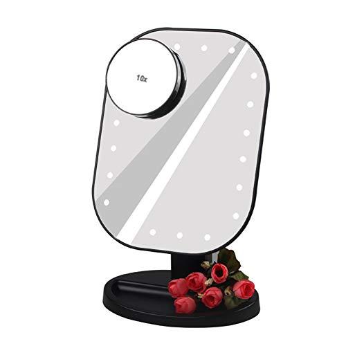 Schminkspiegel LED-Licht, Tageslicht-LED-Beleuchtung, 180-Grad-Drehung, Mit 10X Abnehmbarem Kosmetikspiegel,Black