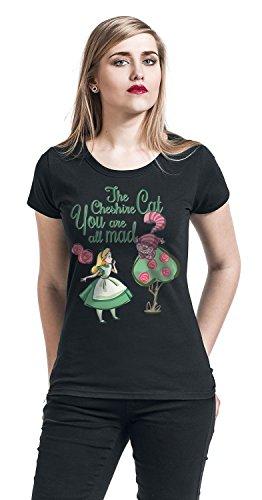 Alice im Wunderland Grinsekatze - You Are All Mad Girl-Shirt Schwarz Schwarz