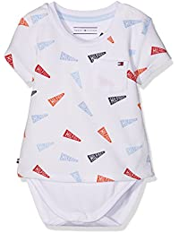 Tommy Hilfiger Flag Tee S/S, Body para Bebés, Blanco (Classic White), 68