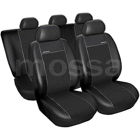 PREMIUM (PR2) (totalmente a medida) - Juego de fundas de asientos a: Ford Transit Custom (3-plazas) - (2012-….) - (cuero ecológico y con alcantara) - (Negro)