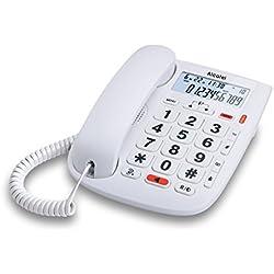 Alcatel TMax20 - Téléphone Filaire Larges Touches pour Les séniors, Ecran rétro-éclairé, Fonction Mains Libres, 1 mémoire directe, Répertoire de 10 entrées, Volume du combiné réglable - Blanc