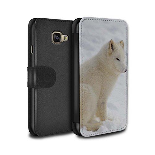 Stuff4® PU-Leder Hülle/Case/Tasche/Cover für Samsung Galaxy A3 (2016) / Weiß Arktis Fuchs Muster/Arktis Tiere Kollektion