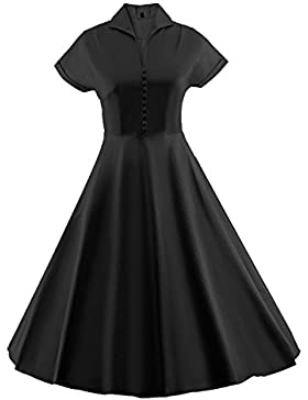 LUOUSE Damen Audrey Hepburn 50s Retro Vintage Bubble Skirt Rockabilly Swing Evening Kleider