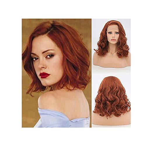 Galatée Perücke Für Frauen Schöne Damen Haare Perücke Natürliches Schauen Hitzebeständigkeit Mode Party Perücke 14 Zoll mit freier Perückekappe und Perückekamm (Rot)