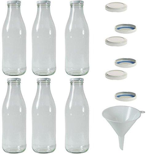 6 x Milchflasche 1 Liter mit 12 x PVC freiem Schraubverschluss Weiss Zum Selbst befüllen, inkl. Trichter - Mit Flasche Twist Deckel Milch