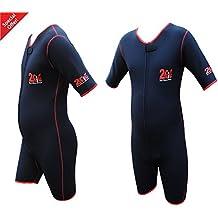 Traje para sudar 2Fit resistente para sauna, gimnasio, boxeo, pérdida de peso, AMM, pantalones cortos para adelgazamiento, mujer hombre, negro/rojo