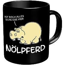 """Tasse Kaffeebecher mit Motiv/Spruch """"Nölpferd"""" Höhe: ca. 9,7 cm, Ø ca. 8,2 cm Material: Keramik Füllmenge: 300 ml Tasse im Geschenkkarton"""
