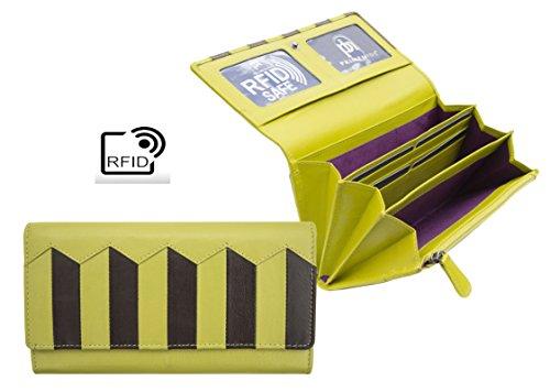 Prime Hide Xenia - RFID blocco - Matinee Portafoglio in pelle Lime/Brown 19 x 11 x 3 cm