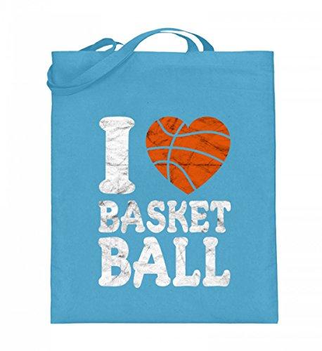 Hochwertiger Jutebeutel (mit langen Henkeln) - I Love Basketball T-Shirt - Geschenk Basketballer/Fan, Spieler, Trainer, Herz, Used Look