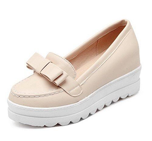 VogueZone009 Femme Tire Pu Cuir Couleur Unie Rond Chaussures Légeres Beige