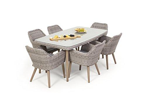 Maze Rattan msc-402030rechteckig 6-Sitzer-Paris Esszimmerstuhl Set mit 180x 100cm Tisch in einem Geflecht–Licht Grau Ton (Dining Alle Wetter Wicker)