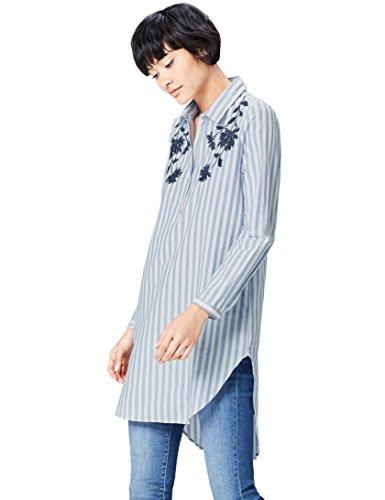 FIND Camisa con Bordados para Mujer, Azul (Blue/white), 42 (Talla del Fabricante: Large)