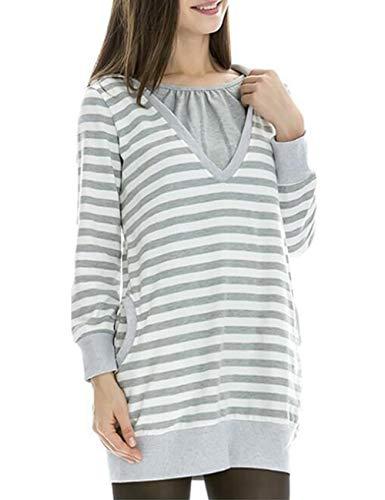 Zhhlinyuan Damen Mode Streifen Kapuzenpullover Stillzeit Top - Umstandsmoden Lange Ärmel Baumwolle Invisible Stillen Tops
