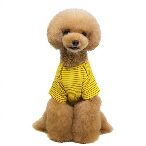 Ancdream Forniture per Animali Domestici - Piccolo Cane Marinaio Costume Abbigliamento Cucciolo Abbigliamento a Strisce Giacca Calda - Taglia L Colore Giallo