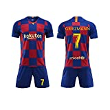 Camiseta Jersey Futbol Barcelona 2018-2019 Traje de niños Manga Corta + Pantalones Cortos (Griezmann- 7,T24 / Altura del niño 140-145CM)