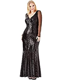 142c50bc6a Goddiva Plus Size Long Sleeved Sequin Chiffon Maxi Evening Gown Prom Party  Dress