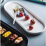 LIXUE Plateau nordique en céramique créative disque ovale long disque disque vaisselle de table assiette plate assiette plate assiette petit déjeuner (Color : White, Size : 40X15X2.5CM)