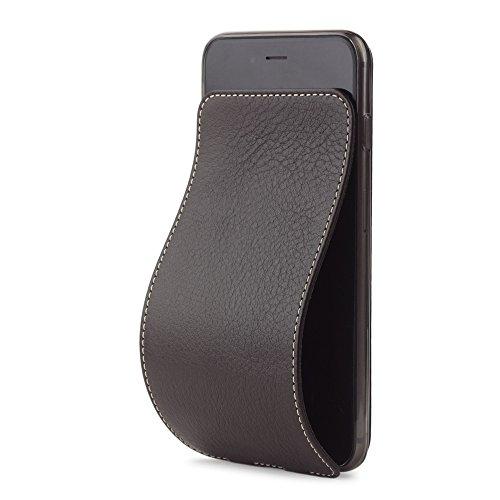 Marcel Robert - Lederhülle für iPhone 6 PLUS  - patentiertes Model - aus echten Kalbleder  - Premium-Qualität - Hergestellt in Frankreich - [DUNKELBRAUN] - Französisch-kalb-leder