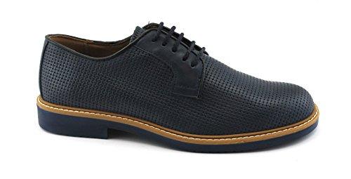 Igi&Co 1105100 Chaussures de Sport Homme Bleu Derby en Cuir Tissé Élégant Blu
