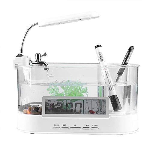 Daoxiang USB-Desktop-Aquarium mit fließendem Wasser LCD-Wecker Bunte LED-Leuchten mit Kalender können zu Hause unterbringen,White (Wasser-heizung-wecker)