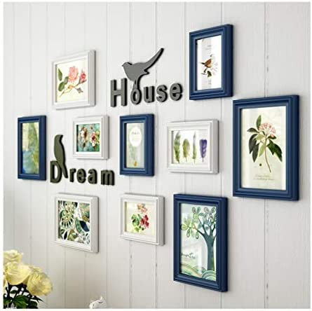 DONG 10 Multi-Frame Photo Wall, Photo Frame Combinazione Background Creativa Background Combinazione Pittura Decorativa in Legno 44.9  24.4in 128fb0