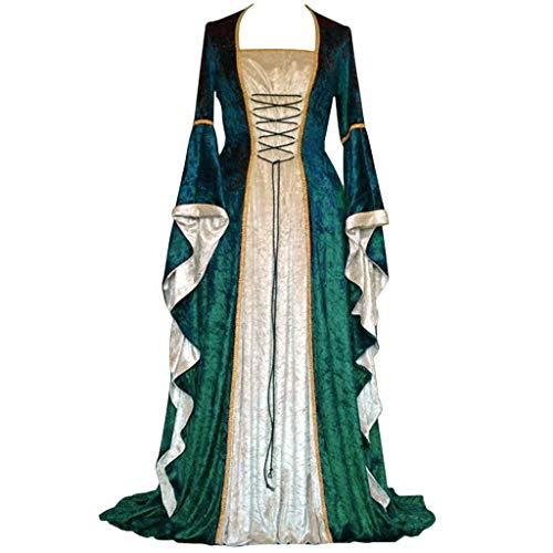 Damen Langarm Mittelalter Kleid Gothic Viktorianischen Königin Kostüm Kleid Prinzessin Renaissance Bodenlänge Maxikleid Retro Kleid Gotisch Kleider Mehrfarbig Kleider Karneval Festlich Party ()