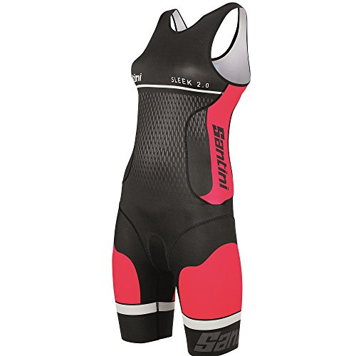 Santini Sleek 2.0 Body Triathlon Donna, Rosso,